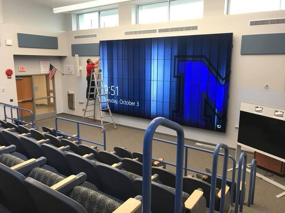 Installing a giant classroom video wall system